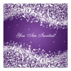 50th Wedding Anniversary Sparkling Wave Purple Personalized Announcements