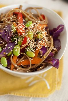 bowl of soba noodles with vegetables...am going to try this today with the peanut butter and tofu