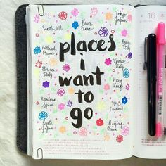 Places I Want To Go Notebook Doodles, Diary Notebook, Notebook Ideas, Journal Diary, Diary Book, Dream Journal, Wreck This Journal, Junk Journal, Bullet Journal Ideas