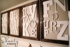diy alphabet wall art...I'm thinkin' playroom!!
