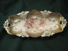 Decorative Arts Floral Pattern Durable In Use Vintage German Celery Dish Rose Bowls