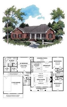European Style COOL House Plan ID: chp-18934 | Total Living Area: 1654 sq. ft., 3 bedrooms & 2 bathrooms. Covered front and rear porches provide plenty of space for your family to relax after a long day. Master suite features a trayed ceiling, two large his and her walk-in closets, an oversized garden tub, dual vanities, a large separate shower, compartmented toilet, and a separate make-up area.  #houseplan #europeanstyle