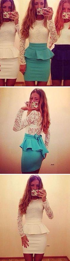 Flirty peplum lace dress <3