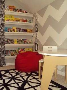 add bean bags for the reading area and the bookshelving in this photo is awesome!