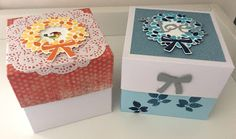 Christmas gift boxes, 4-1/2 x 4-1/2 inches.