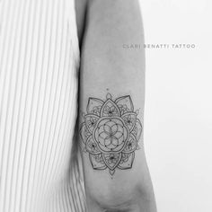 Mandala and Cherry Flowers Tattoo by Clari Benatti