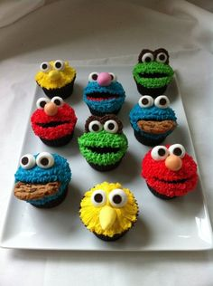 Sesame Street cupcakes; made by one of M's colleagues