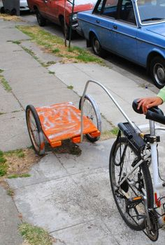 No Weld Bike Trailer - heavy construction materials, but the shape is right