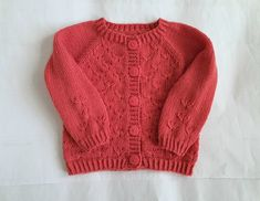 Handknit coral pink merino wool cardigan, baby girl to 9 months, girls warm knitted sweater - pretty dandelion flower design, girl knitwear Baby Girl Sweaters, Baby Warmer, Some Girls, Wool Cardigan, Coral Pink, Sleeve Styles, Merino Wool, Hand Knitting, Knitwear