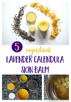 How to make homemade lavender calendula skin balm using only 5 natural ingredients including cocoa butter, beeswax and lavender essential oil. | DIY beauty products | herbal remedies