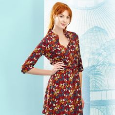 Rosie Shirt Dress - Red Butterfly