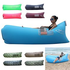 BonClare Portable Beach Loungers Outdoor Air Couch Inflatable Sofa Beach Bed Air BagAntique Blue *** Want to know more, click on the image.