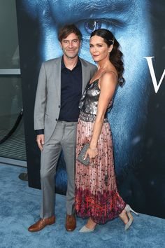 "Director/actor/producer Mark Duplass (L) and actor Katie Aselton attend the premiere of HBO's ""Game Of Thrones"" season 7 at Walt Disney Concert Hall on July 12, 2017 in Los Angeles, California."