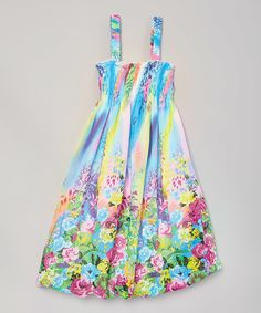Love this Blue Rainbow Floral Shirred Dress - Infant, Kids & Tween by Wenchoice on #zulily! #zulilyfinds