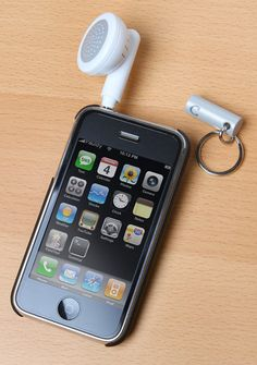 Earphone Speaker Keychain. Looks like a giant earbud, but is a speaker!