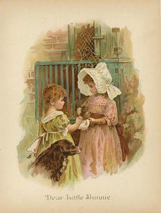 Antique Victorian Girl Children Bunny Rabbit Pets Irish Setter Dog Color Print   eBay