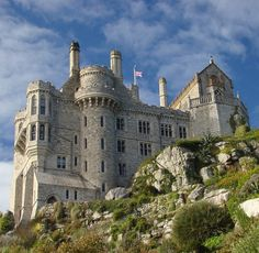 St Michael's Mount Castle, Cornwall, England. The castle is located on a causeway, which can be accessed by foot on a low tide :)