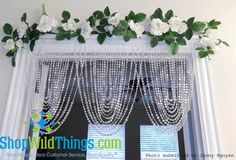 3 ft x Clear Iridescent Faux Crystal Like Curtain - Swag Window Valance Boho Glam Home, Hippie Home Decor, Gothic Home Decor, Crystal Curtains, Beaded Curtains, Prom Decor, Wedding Decorations, Shop Wild Things, Valences For Windows
