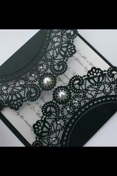 Wedding invite, I like the lace, not the pearls