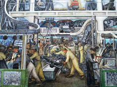 Detroit Industry mural 2 by Diego M. Rivera At the Detroit Institute Of The Arts - Linda Broughman onto Michigan Has It All Diego Rivera Frida Kahlo, Frida And Diego, Detroit Art, Detroit Michigan, Flint Michigan, Tempera, Leeds, Fresco, Statues