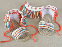 CROCHET PATTERN Baby Sandals Boho Fringe Style Baby Shoes
