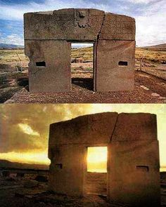 """the gate of the sun"", a stone gateway constructed by the Tiwanaku culture from Bolivia, weight estimate: 10 tons"