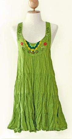 Floral Embroidered Cotton Beach Dress in Green