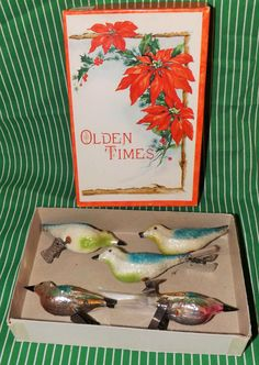 5 Vintage Glass Clip On Bird Christmas Feather Tree Ornaments Antique Decoration