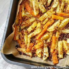 Crispy rotgrønnsaker med smak av Italia - Hver gang vi spiser Vegetable Dishes, Vegetable Recipes, Potato Snacks, Norwegian Food, Cooking Recipes, Healthy Recipes, Simply Recipes, Diy Food, Side Dishes