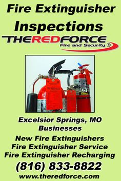 Fire Extinguisher Service Excelsior Springs, MO (816) 833-8822 We're The Red Force Fire and Security. Call Today and Discover the Complete Source for all Your Fire Protection!