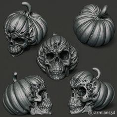 ArtStation - Evil Pumpkin Skulls, Arminas Didziokas Evil Pumpkin, Pumpkin Art, Zombie Halloween Decorations, Halloween Ideas, Good And Evil Tattoos, Creepy, Scary, Zbrush, Skulls
