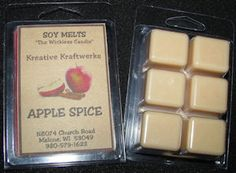Soy Melts - made from natural soy wax. Available in many different scents. Wax Tarts, Spiced Apples, Handmade Candles, Spices, Natural, Food, Spice, Essen, Meals