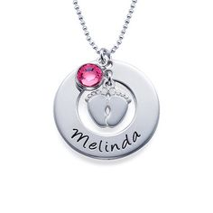 You may select a birthstone from the list below:<br><img border=0 width=100% title=Birthstone Colors src=./images/products/hanging_birthstone_colors_MNN.png alt=Swarovski Colors border=0 <a/><br>Do you know someone who just gave birth? Are you racking your brain, trying to find the perfect commemorative gift? We have it right now - the <b>New Mom Necklace with Baby Feet</b>. This beautiful new mommy necklace is something any new mother would love to wear and show off the birth of her new…