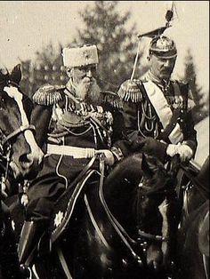 Grand Duke Vladimir (on the left) in the uniform of the Life Guard Uhlan Regiment, behind Tsar Nicholas II. Life Guard, Last Emperor, Alexandra Feodorovna, Tsar Nicholas Ii, Grand Duke, Imperial Russia, History Photos, Royal Jewels, King Queen