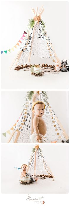 Cake smash portrait session for first birthday with teepee. Bohemian themed 1 year milestone photo shoot with Massart Photography, RI MA CT. | www.massartphotography.com; info@massartphotography.com