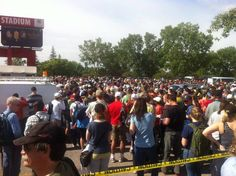 Volunteers pack McMahon Stadium #yycflood #abflood #yyc