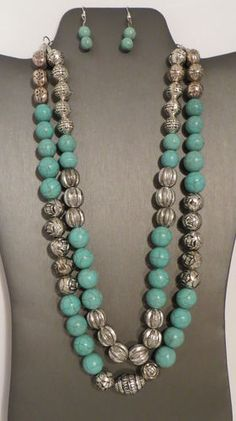 Cowgirl Bling Faux TURQUOISE Gypsy necklace Native Southwestern Spanish silver beads  www.baharanchwesternwear.com baha ranch western wear ebay seller id soloedition