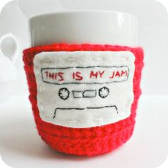 Funny coffee mug cozy tea cup red white This is my by KnotworkShop, $17.00
