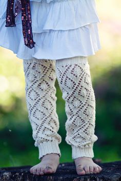 Girls Leg Warmers Lace Leg Warmers Knit Leg Warmers Boot Cuffs ivory off white