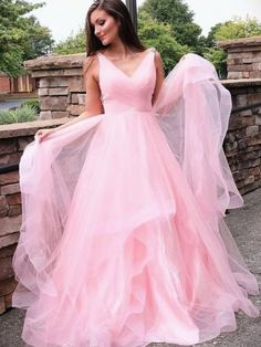 Pink V neck Tulle Long Prom Dress, Pink Evening Dress, Formal Women Dress Winter Prom Dresses, Prom Dresses Long Pink, Prom Dresses For Sale, A Line Prom Dresses, Formal Dresses For Women, Pageant Dresses, Club Dresses, Dress Long, Pretty Dresses
