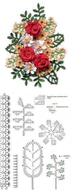 Top 100 hermosas ideas en crochet y bordados en cinta Bouquet Crochet, Crochet Puff Flower, Crochet Leaves, Knitted Flowers, Crochet Flower Patterns, Crochet Designs, Crochet Roses, Pattern Flower, Top Pattern