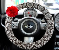 Car Steering wheel cover-Damask with Chiffon Flower, Unique Auto Accessories, Car Decor, Automobile Wheel cover, Valentine Gift by CarSoda on Etsy https://www.etsy.com/listing/204534901/car-steering-wheel-cover-damask-with