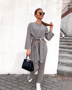 Lounge in style wearing our Grey Knot Front Ribbed Knit Loungewear Set. Loungewear Outfits, Loungewear Set, Two Piece Outfits Pants, Sixth Form Outfits, Sweater Set, Dress To Impress, Trendy Outfits, Lounge Wear, Ideias Fashion