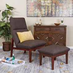 Office Star Products Ave Six Cameron Chair U0026 Ottoman Set (Taupe (Brown))  (Foam)