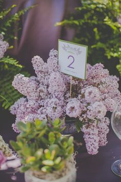 Lilac wedding table number        Sugar and Soul Photography