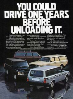 1982 Volvo Station Wagons 4 Vintage Cars Ad MY FIRST CAR / and WHAT A CAR. a TANK, reliable and drove it FOREVER. Loved my Volvo. 1982 DL Station Wagon. Burgundy.