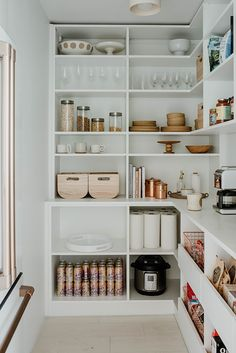 Cheap Home Decor Would You Put Your Fridge in the Pantry? Sarah Sherman Samuel Did.Cheap Home Decor Would You Put Your Fridge in the Pantry? Sarah Sherman Samuel Did Kitchen Organization Pantry, Home Organisation, Organizing Ideas, Refrigerator Organization, Organized Pantry, Pantry Diy, Pantry Shelving, Organising, Ikea Pantry Storage