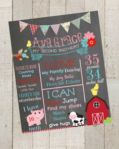 First Birthday Chalkboard -Shabby Chic Farm Theme- Poster Sign Birthday Printable File, 1st Birthday Photo Prop by themilkandcreamco, $20.00