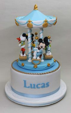 Baby Mickey Mouse Birthday Party cake!  See more party planning ideas at CatchMyParty.com!