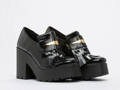 Miista Alexia Chunky Platform Loafer with Kiltie in Black Gold at Solestruck.com